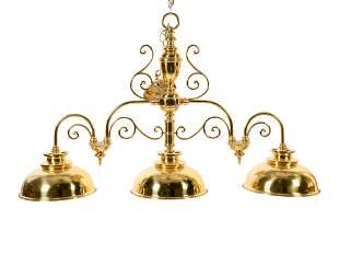 A Classical Brass Three-Light Fixture
