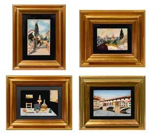 Four Italian Pietra Dura Plaques