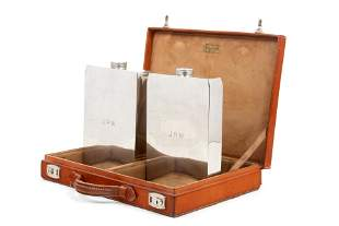 A Leather-Cased Set of Silver-Plate Flasks Retailed by