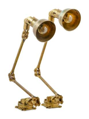 A Pair of Articulated Brass Ship's Lights