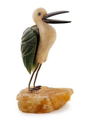A Carved Hardstone Figure of a Crane