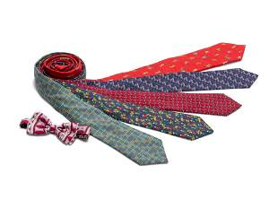 A Group of Men's Ties: One Bvlgari, One Thomas Pink,