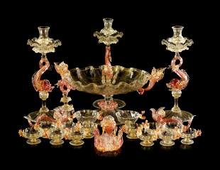 A Venetian Glass Table Service