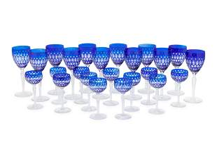 A Group of Cobalt Blue Cut-to-Clear Glass Stemware