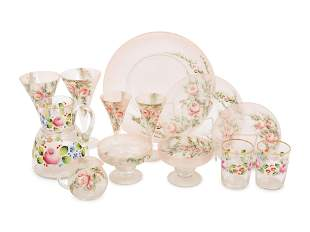 A Partial Set of Enameled Glass Tableware