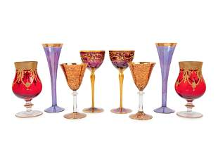 A Collection of Gilt Decorated Glass Stemware