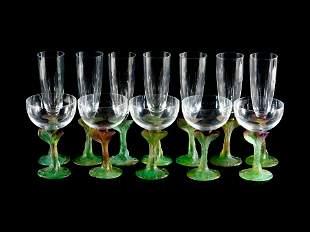 A Daum Colored Glass Stemware Champagne Service