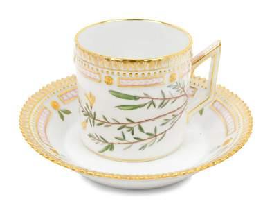 Eleven Royal Copenhagen Flora Danica Teacups and
