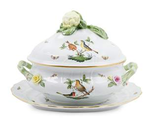 A Herend Porcelain Rothschild Bird Soup Tureen and