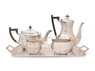 An English Silver Four-Piece Tea and Coffee Service