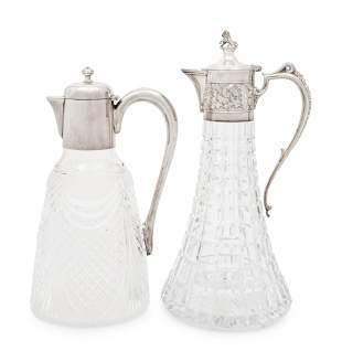 Two English Silver Mounted Cut Glass Claret Jugs