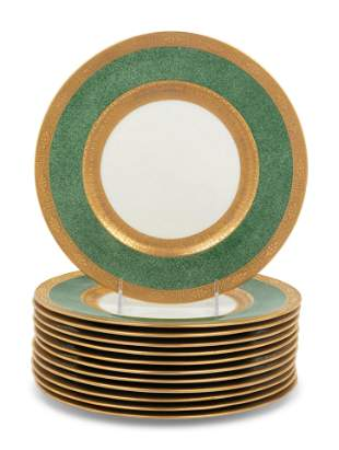 A Set of Twelve Cauldon Porcelain Service Plates