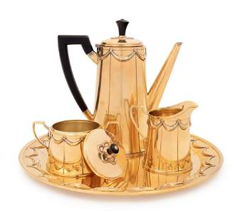 A Tiffany & Co. Silver-Gilt Four-Piece Coffee Service