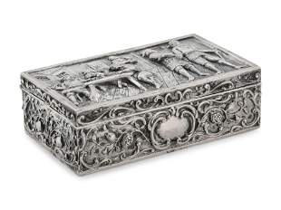 A Continental Silver Table Casket