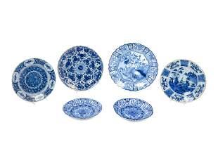 A Group of Six Dutch Blue and White Glazed Pottery