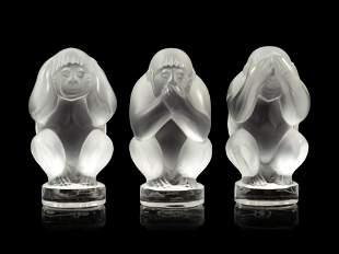 A Set of Three Lalique Sagesse Figures
