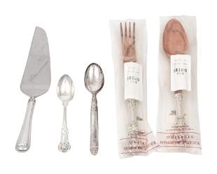 An American Silver Mounted Two-Piece Salad Serving Set