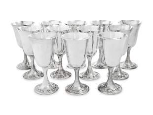 A Set of Twelve American Silver Goblets