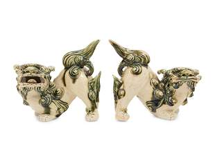 A Pair of Chinese Porcelain Guardian Lions