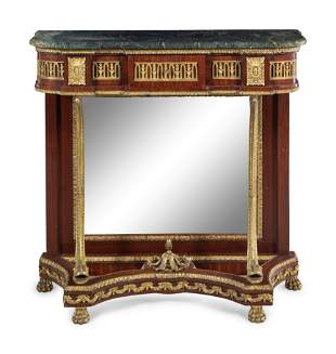 An Empire Style Gilt Metal Mounted Mahogany Marble-Top