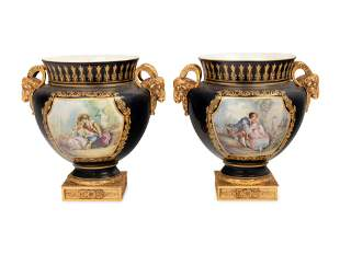 A Pair of Sevres Style Gilt Bronze Mounted Porcelain
