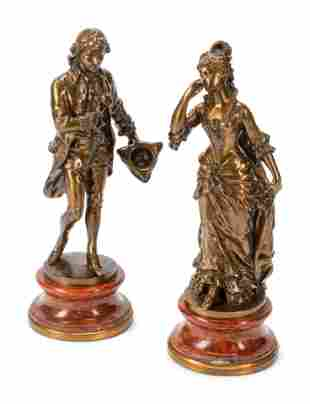 A Pair of French Gilt Bronze Figures on Rouge Marble