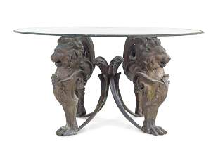 A Neoclassical Style Cast Metal Table Base with Lion