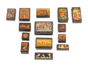 Fourteen Russian Lacquer Boxes