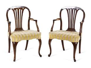 A Pair of George III Tassel-Carved Mahogany Scroll-Foot