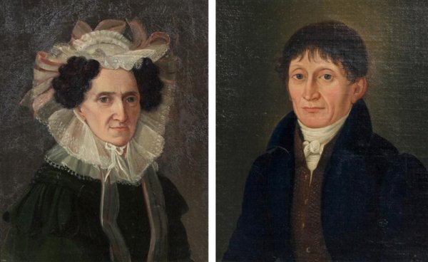 4: American School, 19th century, Man and Woman (a pair