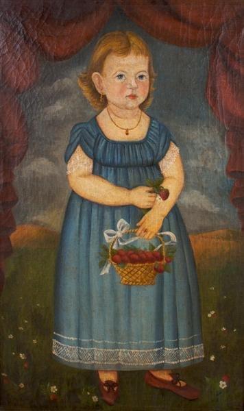 7: American School, 19th century, Portrait of a Girl wi