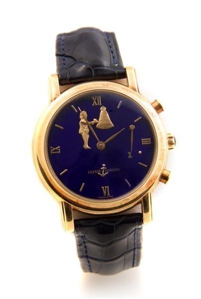 16: An 18 Karat Yellow Gold Hour Striker Wristwatch, Ul
