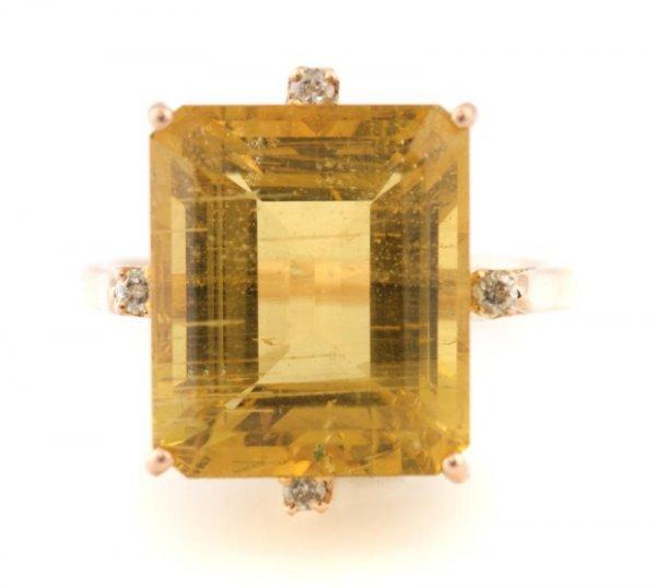331: A 14 Karat Yellow Gold, Golden Beryl and Diamond R