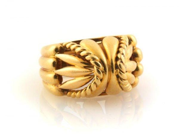 332: An 18 Karat Yellow Gold Textured Ring, 6.07 dwts.