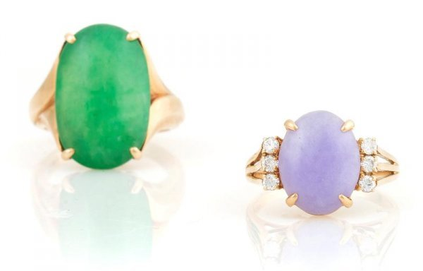 333: A Group of Two Jadeite Rings, 7.48 dwts.