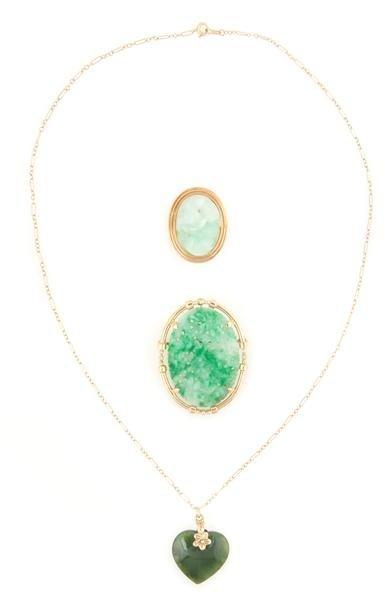 334: A Group of 14 Karat Yellow Gold and Jadeite Jewelr