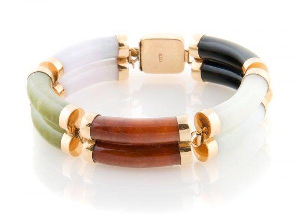 335: A 14 Karat Yellow Gold and Multi-Color Jade Bracel