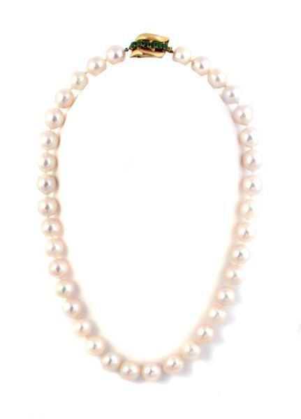 336: A 14 Karat Yellow Gold, Cultured Pearl and Jade Ne