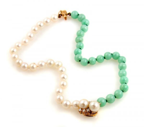 338: A 14 Karat Yellow Gold Cultured Pearl, Green Jadei
