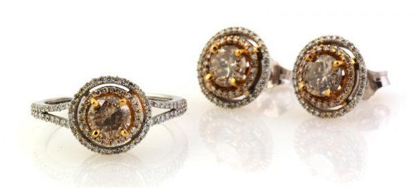 340: A Set of 14 Karat White Gold and Brown Diamond Jew