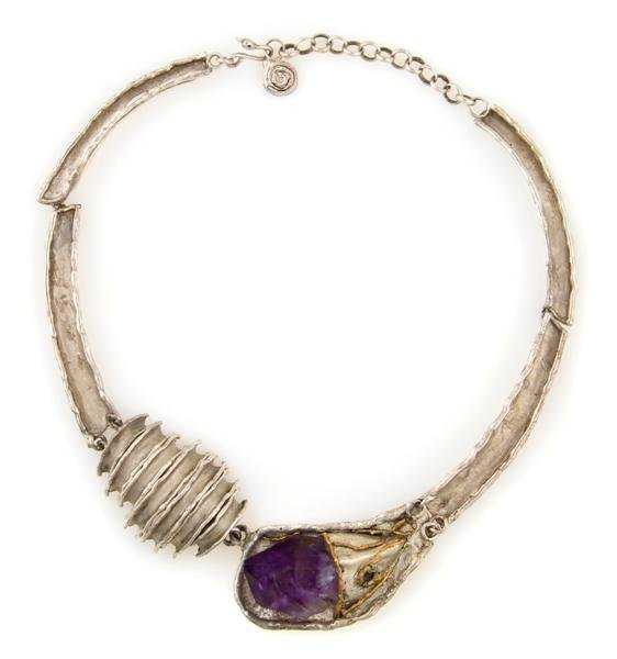 341: A Sterling Silver and Amethyst Necklace, Circa 197