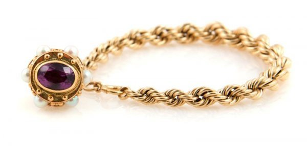 348: A 14 Karat Yellow Gold Rope Style Bracelet With an