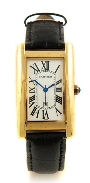 629: A Gold Plated Silver Tank Wristwatch, Cartier,