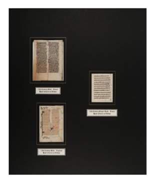 [MANUSCRIPT LEAVES -- BIBLES]. A group of 3 manuscript