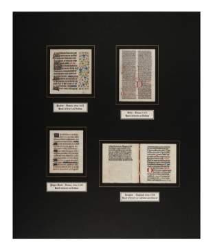 [MANUSCRIPT LEAVES -- BIBLES]. A group of 4 manuscript
