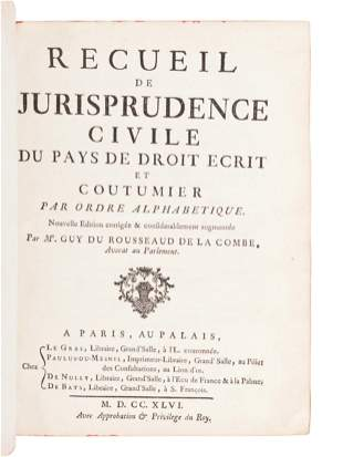 [FRENCH LAW]. A group of three 18th-century works in