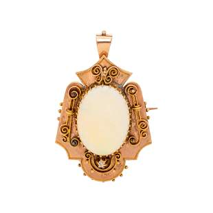 VICTORIAN, YELLOW GOLD AND OPAL PENDANT/BROOCH