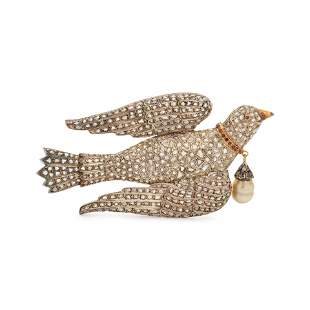 DIAMOND AND GEMSTONE BIRD BROOCH