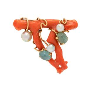 BRANCH CORAL, AQUAMARINE AND CULTURED PEARL BROOCH