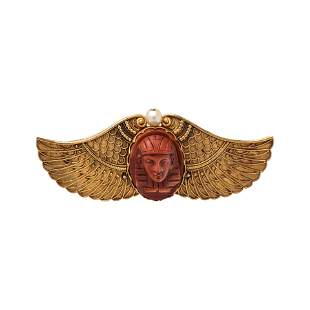 EGYPTIAN REVIVAL, YELLOW GOLD, HARDSTONE AND PEARL